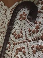 Régi görbebot bőrborítású antik