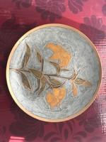 Tűzzomámcos réz fali tányér