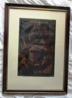 Kortárs festmény, linó metszett,betűk. Sorszámozott, jelzett,papír, 56 x 76,30 x 49 cm
