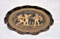 Aranyozott festésű kerámia fali tányér  ( DBZ 0088 )