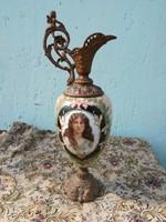 Csodálatos festett opálüveg kiöntő, karaffa 19sz. 63 cm.