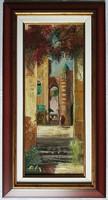 """Adilov Alim """"Mediterrán városrészlet"""" című olajfestmény szép keretben ingyenes házhoz szállítással"""