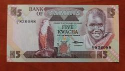 Zambia 5 Kwacha UNC 1980-88