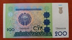 Üzbegisztán 200 Szom bankjegy UNC 1997