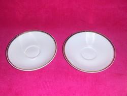 Hollóházi porcelán arany szélű fehér csésze alj párban 15,3 cm (s)