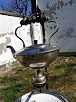 Egyedi készítésű, teás kanna, teázó, antik fajansz tácával.