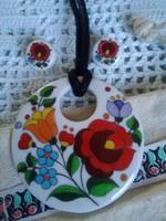 Hollóházi  kézzel festett porcelán ékszer, ZEMA kalocsai mintás kollekciója!