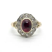 871. Antik Gyűrű Gyémántokkal és Rubelittel