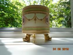 19 sz Empire,kézzel festett,aranyozott virágfüzéres,medalionos,oroszlán lábas,angol porcelán