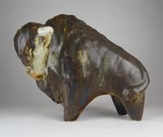 0X023 Taisto Kaasinen nagyméretű kerámia bölény