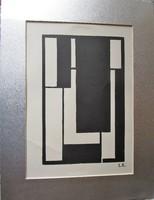 Kassák Lajos kompozició litográfia jelzett paszpartu -val keretezve 1959