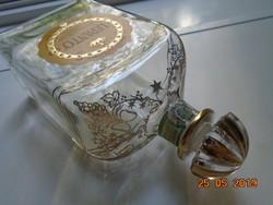 Moser féle,kézzel festett arany mintával,JEREZ spanyol szögletes LEPANTO BRANDY palack