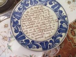 Parasztházba Miatyánkos korondi fali tányér