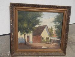Szilvási B. falusi utcarészlet, olajkép festmény
