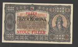 "1000 korona 1923.  ""8 FILLÉR"" Fb.!!  UNC!!  RITKA!!"