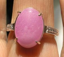 925 ezüst gyűrű 18,3/57,5 szépséges pink-lila jádéval