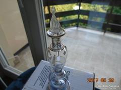 Kézműves parfümös üveg aranyozott rátétes dombor mintával-13 cm