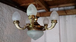 """5 ágú antik réz csillár lápa felújítva eladó """"tölcsér-karú"""""""