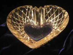 Csiszolt bonbonos ,ékszertartó stb szív alakú rózsaszínű  kínáló