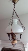 Antikolt lüszler lámpa ,porcelán dísszel,hibátlan búrával