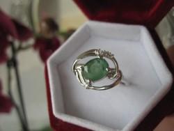 Szecessziós, leveles ezüst gyűrű ( sterling 925 ) természetes SMARAGD kővel - belül 1,8 cm