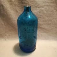 Hungária szikvízgyár Kispest kék szódásüveg palack