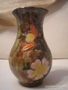 Antik Hévíz jelzett váza majolika mázas virág mintás ritkaság 23.5 cm