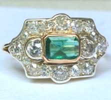 Antik Arany Gyűrű Gyémánt Smaragd Art Deco 14 K / 585