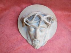 Szignált terrakotta Jézus portré