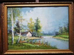 Hangulatos nyári tájkép, folyópart nyírfákkal, karton akvarell, aranyozott keretben, üvegezve.