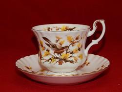 """Royal Albert erdei madár sorozat """"vörösbegyes"""" tagja, teás szett"""