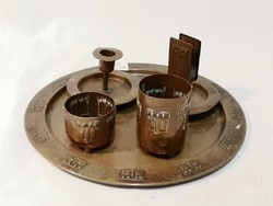 Szecessziós, asztali dohányzó készlet, 1900-1910 körül