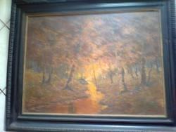 Vári-Vojtovits Zoltán Erdei kép, olajfestmény, 60 x 80 cm, kb.100 éve festette a művész.Halála 1935