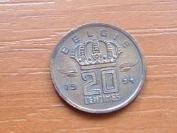 BELGIUM BELGIE 20 CENTIMES 1954 BÁNYÁSZ