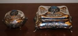 """Antik Barokk  Ezüst Cukortartó szett """"Lazulit"""" kővel. 1800-as évek, jelzett, 800-as ezüst 550 g"""