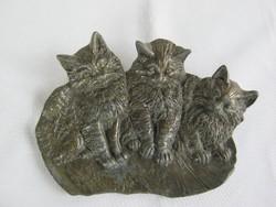 Három cica macska fém fali dísz