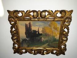 SCHELL JENŐ: eredeti festménye-florentin keretben