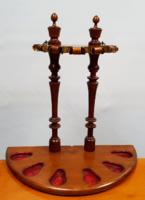 Restaurált antik pipatartó, pipa tórium