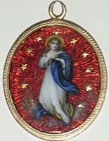 Sz Mária Isten anyja imádkozz érettünk arany keretben medál mérete:26mmX22mm minkét oldala sérült!
