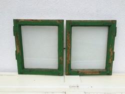 Régi vintage üvegezett kis fenyő ablakszárny ablak dekoráció