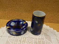 Wallendorf kobalt kék hamútál és cigaretta tartó.