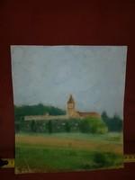 Pasztell tájkép templommal