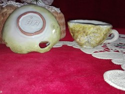 Kerámia csésze aljával, az 1900-as évek második feléből, jelzett, hbátlan