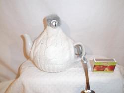 Porcelán pulcsis kanna + szív alakú kanál - törtfehér - nem használt 0,5 liter