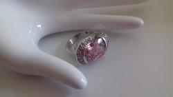 Nagy rózsaszín köves,nőies ezüst gyűrű 12,6 gramm