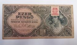 1000 pengő 1945 hibás dézsmabélyeggel.