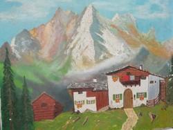 Alpesi csendélet olaj vászon festmény