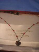 Ut Antik Gránát köves szív medál ritkaság  nyakláncon eladó 40 cm ajándékozható