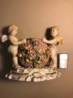 Porcelán cukortartó két angyallal