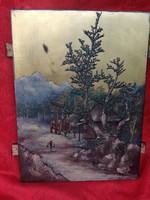 Antik 19 sz keleti festmény fára.